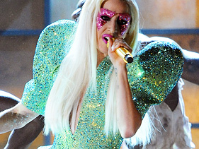Lady Gaga performs at the 52nd annual Grammy Awards