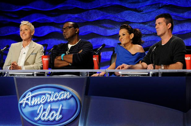 "The judges of ""American Idol."" Left to right: Ellen DeGeneres, Randy Jackson, Kara DioGuardi and Simon Cowell. Credit: Michael Becker/FOX."