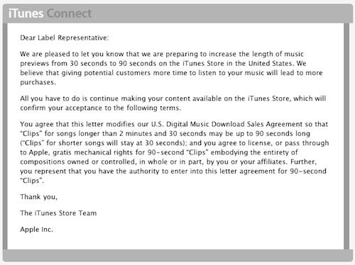Apple letter to labels informing them of the change to 90 second samples