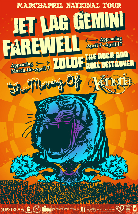 Jet Lag Gemini tour, with farewell, zolof the rock and roll destroyer, the morning of, and kenotia
