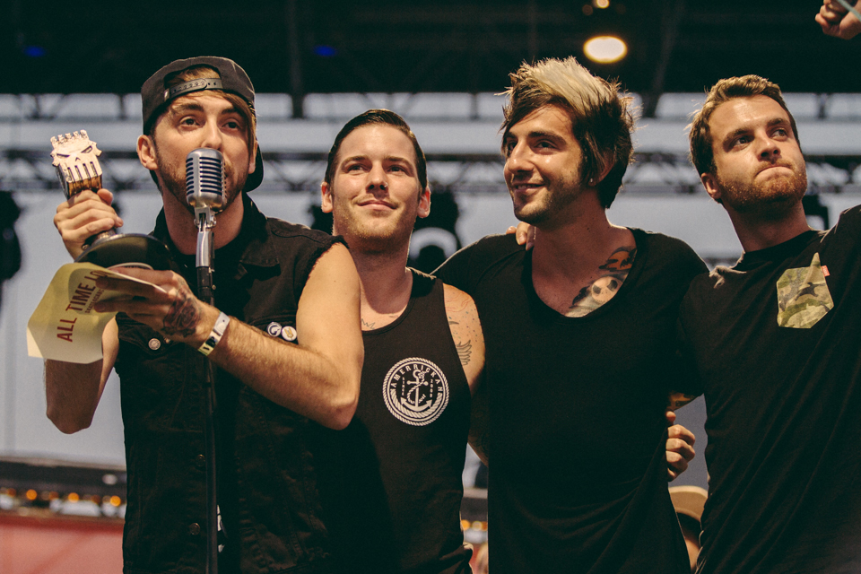 All Time Low accepting their Artist Philanthropic Award