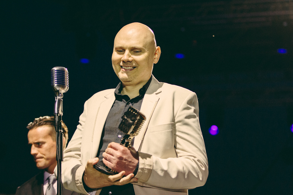 Billy Corgan accepting the AP Vanguard Award