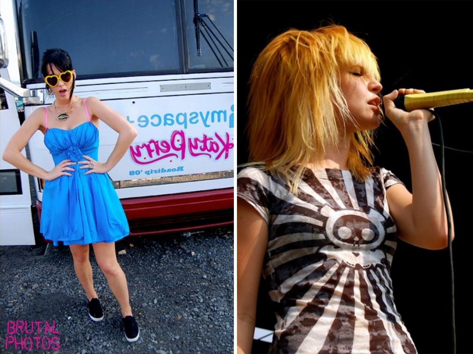 Left: Katy Perry, 2008. Right: Hayley Williams of Paramore, 2007.
