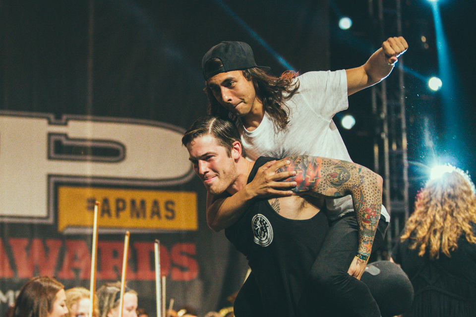 Vic Fuentes of Pierce The Veil piggybacking on Zack Merrick of All Time Low