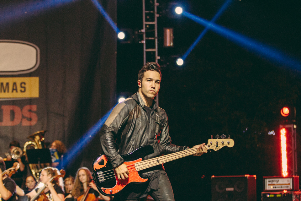 Pete Wentz of Fall Out Boy performing