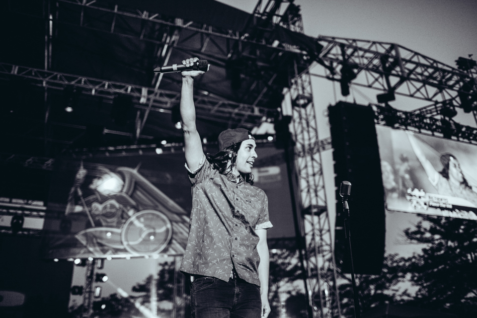 Vic Fuentes performing with All Time Low
