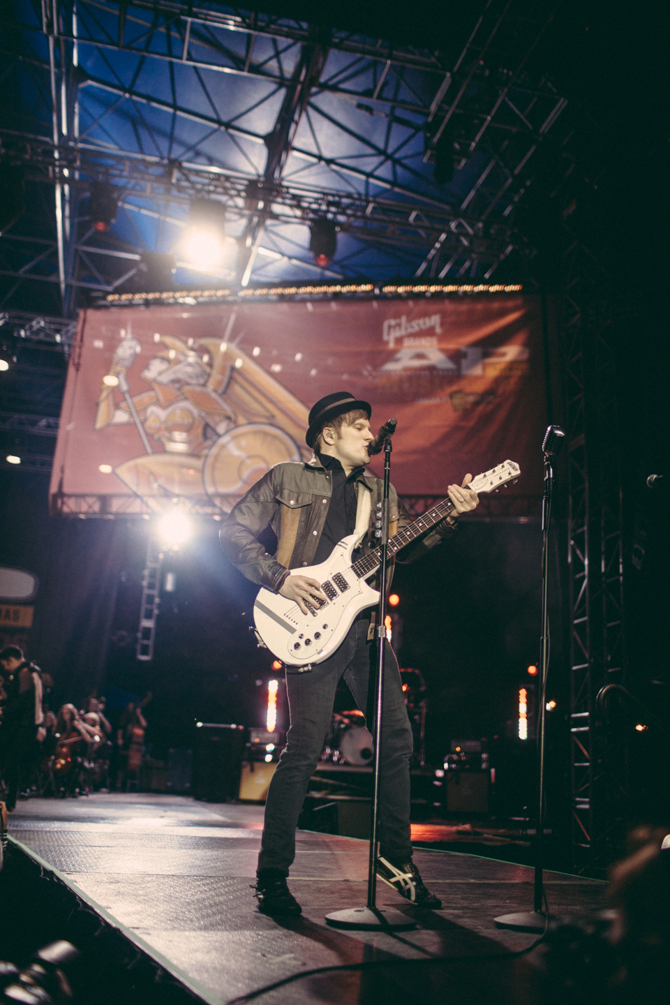 Patrick Stump of Fall Out Boy performing