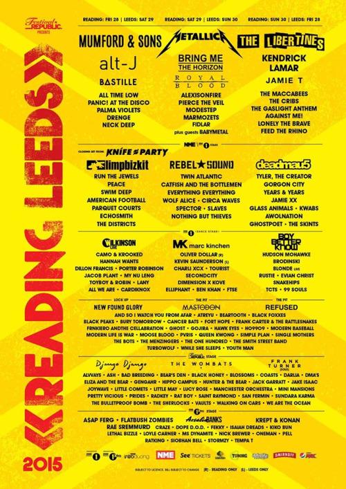 reading leeds full lineup 2015