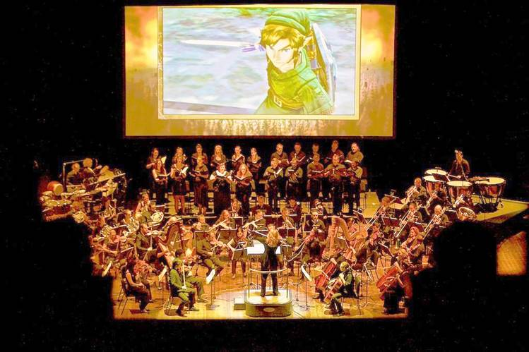 "A symphony orchestra plays theme music from ""The Legend of Zelda."" Photo from The Wall Street Journal"